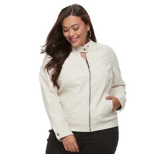 Plus Size Apt. 9® Faux-Leather Moto Jacket