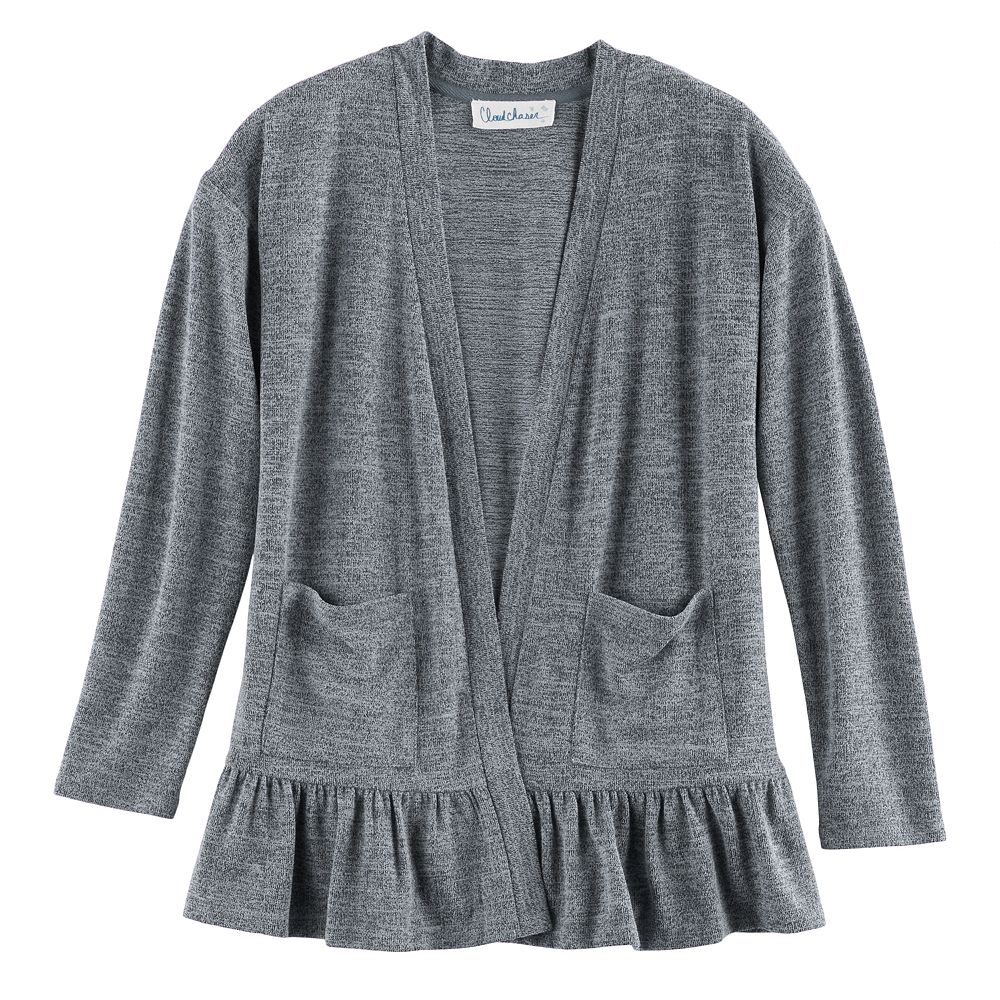 7-16 & Plus Size Cloud Chaser Open Front Ruffle Cardigan