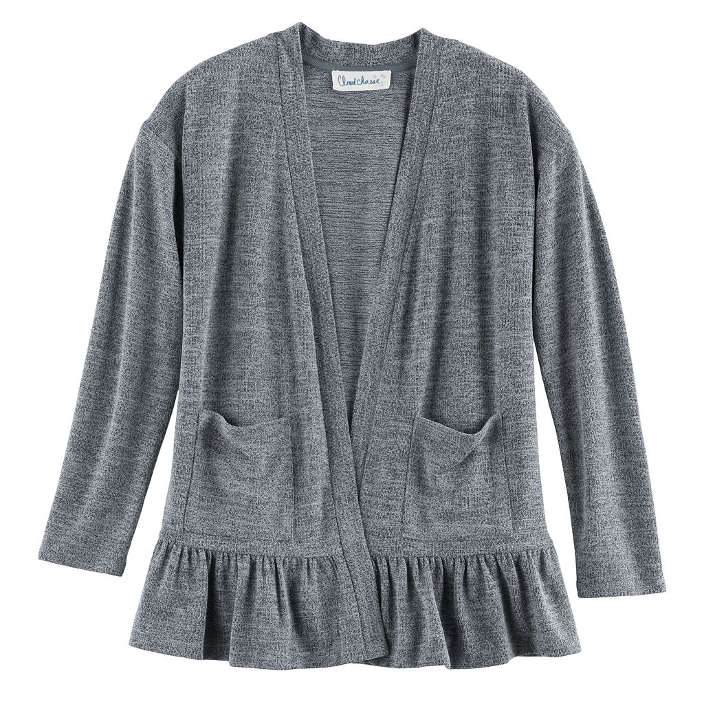 Girls 7-16 & Plus Size Cloud Chaser Open Front Ruffle Cardigan