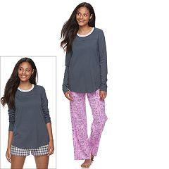 Juniors' SO® Pajamas: Knit Pants, Shorts & Top 3 pc PJ Set