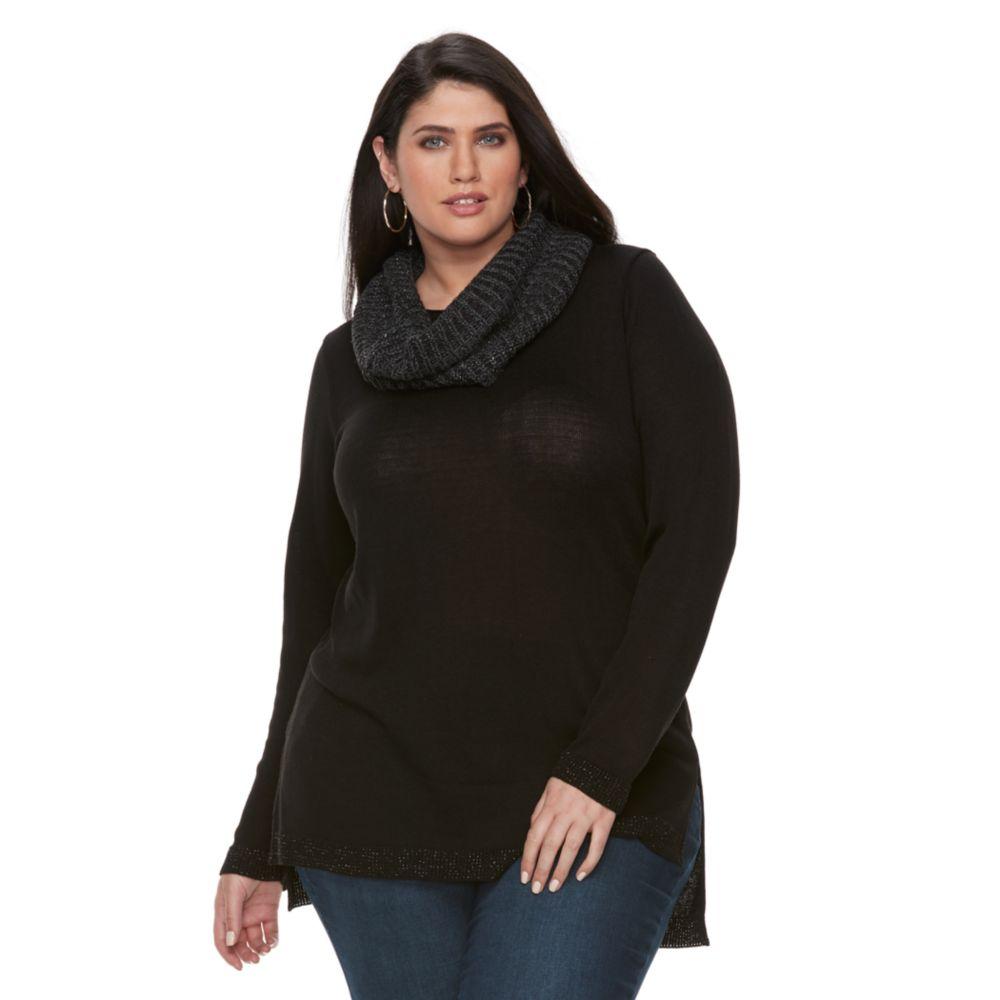 Size Apt. 9® Lurex Crewneck Infinity Scarf Tunic Sweater