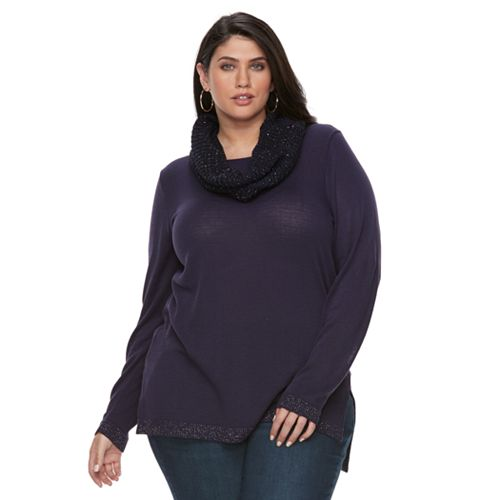 Plus Size Apt. 9® Lurex Crewneck Infinity Scarf Tunic Sweater