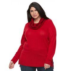 Plus Size Apt. 9® Lurex Crewneck Infinity Scarf Tunic Sweater