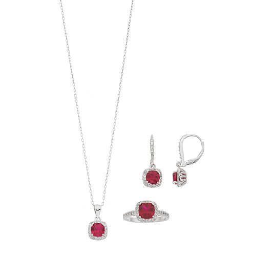 Sterling Silver Lab-Created Ruby & White Sapphire Halo Jewelry Set