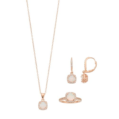 18k Rose Gold Over Silver Lab-Created White Opal & White Sapphire Halo Jewelry Set
