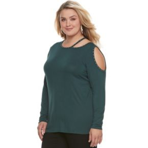 Plus Size Rock & Republic® Embellished Cut-Out Shoulder Top
