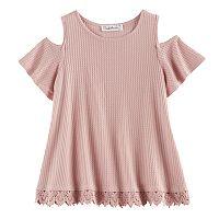Girls 7-16 & Plus Size Cloud Chaser Crochet Trim Cold Shoulder Top