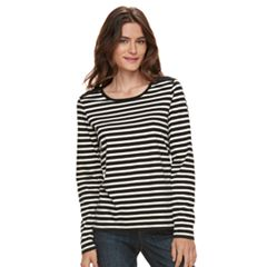 Women's Caribbean Joe Striped & Lace Top