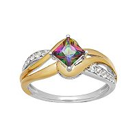Two Tone Sterling Silver Mystic Fire Topaz & Lab-Created White Sapphire Bypass Ring