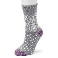 Women's Cuddl Duds Snowflake & Diamond Fairisle Crew Socks