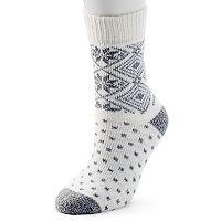 Women's Cuddl Duds Snowflake & Diamond Fairisle Crew Socks