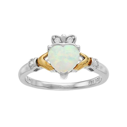 Two Tone Sterling Silver Lab-Created White Opal & Diamond Accent Claddagh Ring