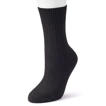 Women's Cuddl Duds Solid Twist Crew Socks