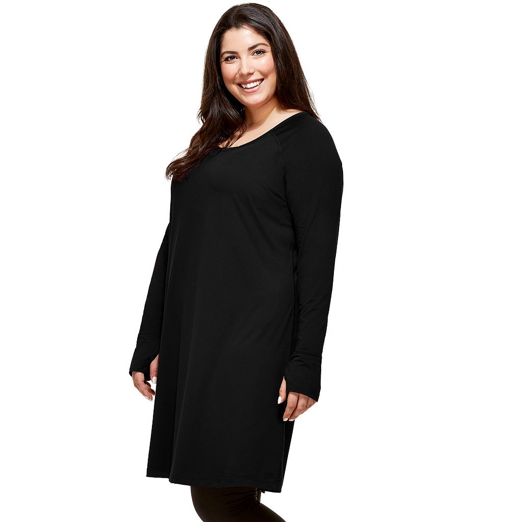Plus Size Hottotties by Terramar Collins Thumb Hole V-Neck Tunic