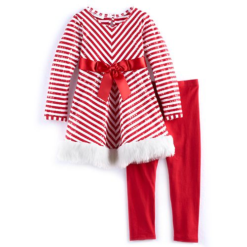 04c485b3315 Girls 4-6x Bonnie Jean Striped Dress & Legging Set