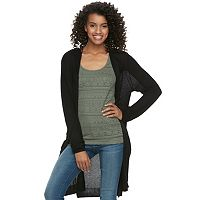 Juniors' SO® Hooded Long Cardigan
