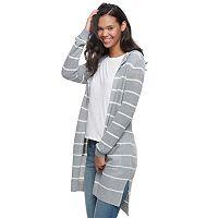 Juniors' SO® Hooded Long Cardigan