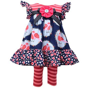 Baby Girl Bonnie Jean Ruffled Bird Dress & Striped Leggings Set