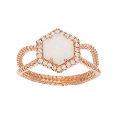 18k Rose Gold Over Silver Lab-Created White Opal & Cubic Zirconia Halo Hexagon Ring