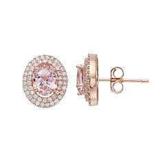 18k Rose Gold Over Silver Pink Crystal & Cubic Zirconia Oval Halo Stud Earrings