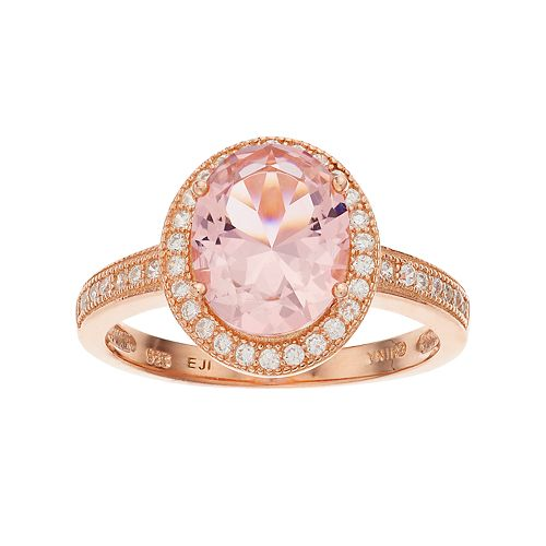 18k Rose Gold Over Silver Crystal & Cubic Zirconia Oval Halo Ring