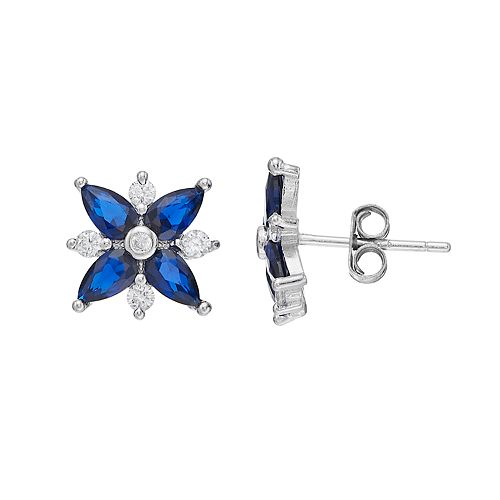 Sterling Silver Lab-Created Blue Spinel & Cubic Zirconia Starburst Stud Earrings