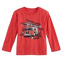Toddler Boy Jumping Beans® Firetruck Diagram Long Sleeve Graphic Tee