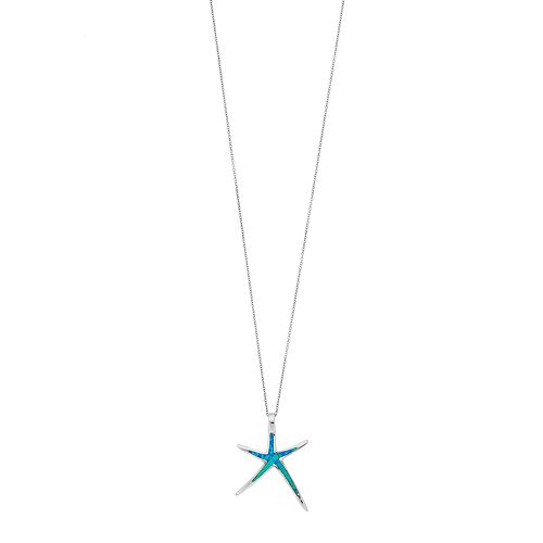 Sterling Silver Lab-Created Blue Opal Starfish Pendant Necklace