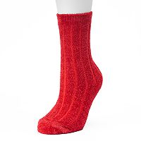 Women's Cuddl Duds Ribbed Chenille Crew Socks