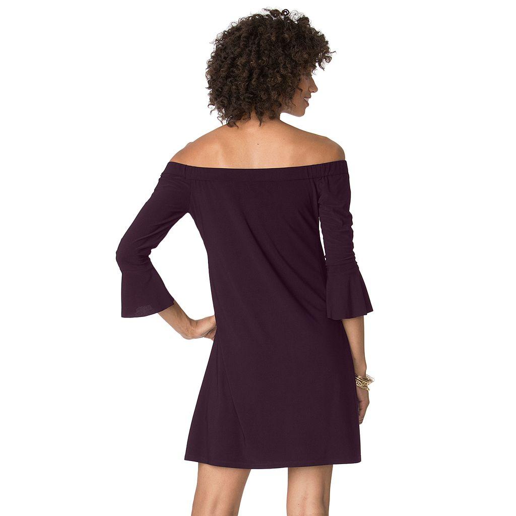 Women's Chaps Off-The-Shoulder A-Line Dress