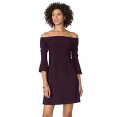 Women's Chaps Off-The-Shoulder A-Line Dress