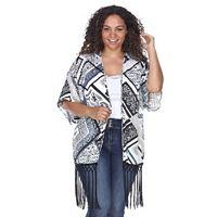 Plus Size White Mark Fringe Kimono