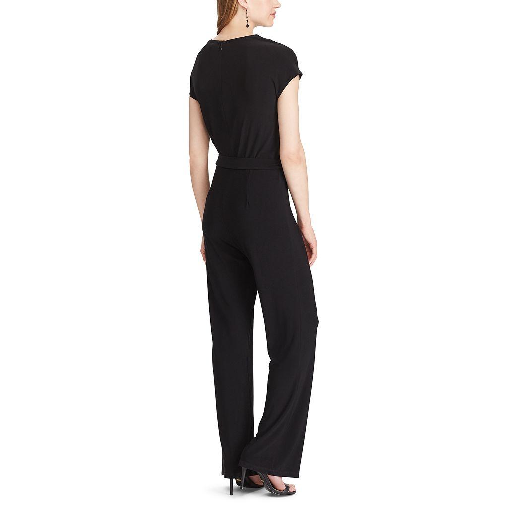 Women's Chaps Lace-Trim Jersey Jumpsuit