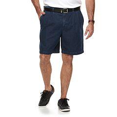 Big & Tall Croft & Barrow® Relaxed-Fit Side-Elastic Denim Pleated Shorts