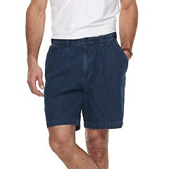 Big & Tall Croft & Barrow® Relaxed-Fit Side-Elastic Denim Pleated Shorts