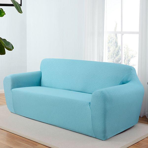 Kathy Ireland Ingenue Stretch Sofa, Aqua Sofa Slipcover