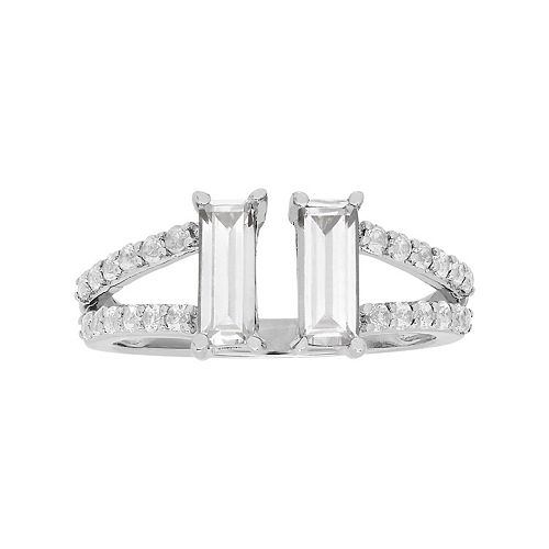 Simply Vera Vera Wang Sterling Silver Lab-Created White Sapphire Baguette Ring
