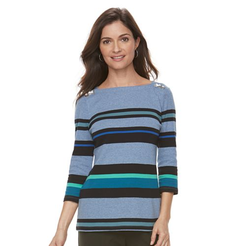 Women's Croft & Barrow® Button-Shoulder Top