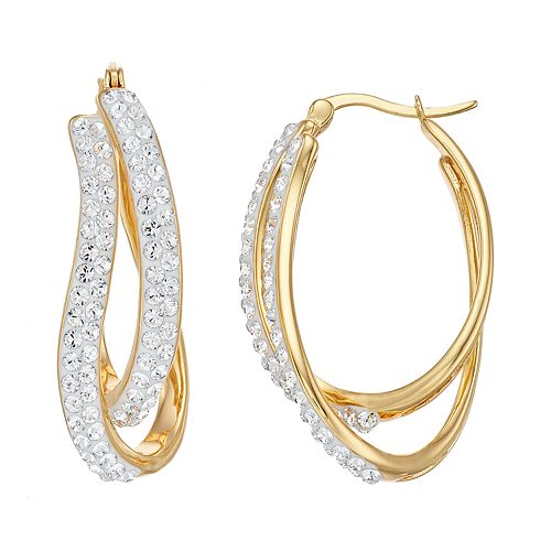 18k Gold Over Silver Crystal Twist Hoop Earrings