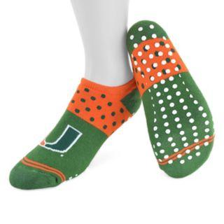 Women's Mojo Miami Hurricanes Speckled No-Show Grip Socks