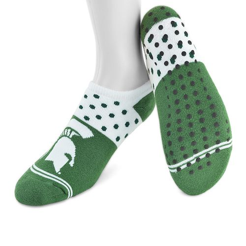 Women's Mojo Michigan State Spartans Speckled No-Show Grip Socks