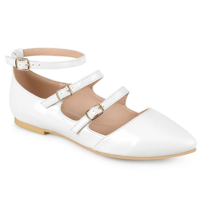 Enchanting beauty is effortless with these beautiful Journee Collection shoes.SHOE FEATURES Strappy design SHOE CONSTRUCTION Faux leather upper Manmade outsole SHOE DETAILS Pointed toe Buckle closure Padded footbed 0.46-in. heel  Size: 9. Color: White. Gender: female. Age Group: kids.
