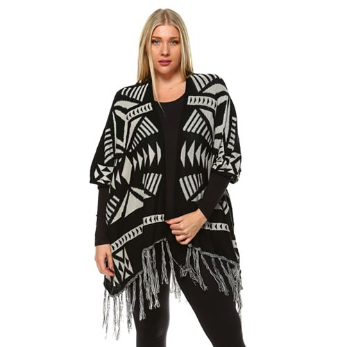 Plus Size White Mark Aztec-Print Cardigan