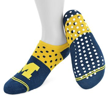 Women's Mojo Michigan Wolverines Speckled No-Show Grip Socks