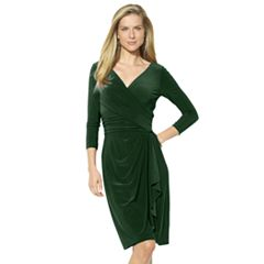 Petite Chaps Jersey Faux-Wrap Sheath Dress