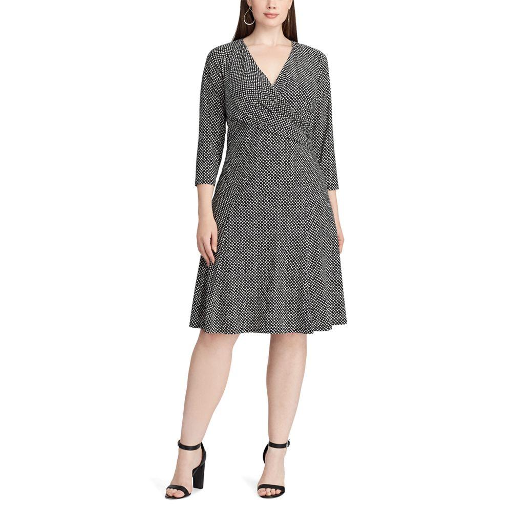 Size Chaps Dot Print Jersey Fit Flare Dress