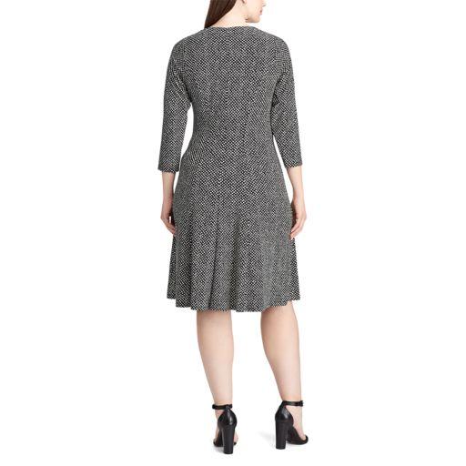 Plus Size Chaps Dot-Print Jersey Fit & Flare Dress