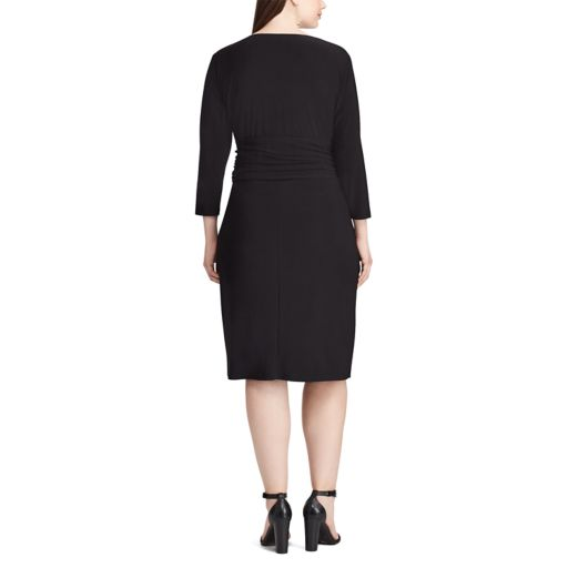 Plus Size Chaps Jersey Faux-Wrap Sheath Dress
