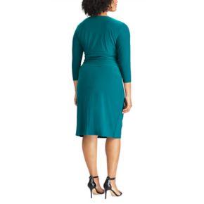 Plus Size Chaps Jersey Faux-Wrap Sheath Dress