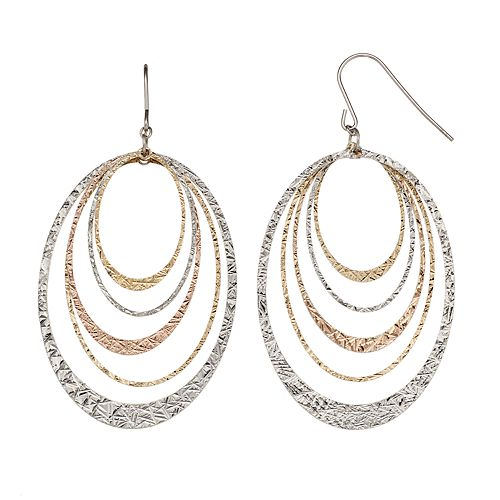 Silver Classics Tri-Tone Sterling Silver Concentric Oval Hoop Drop Earrings